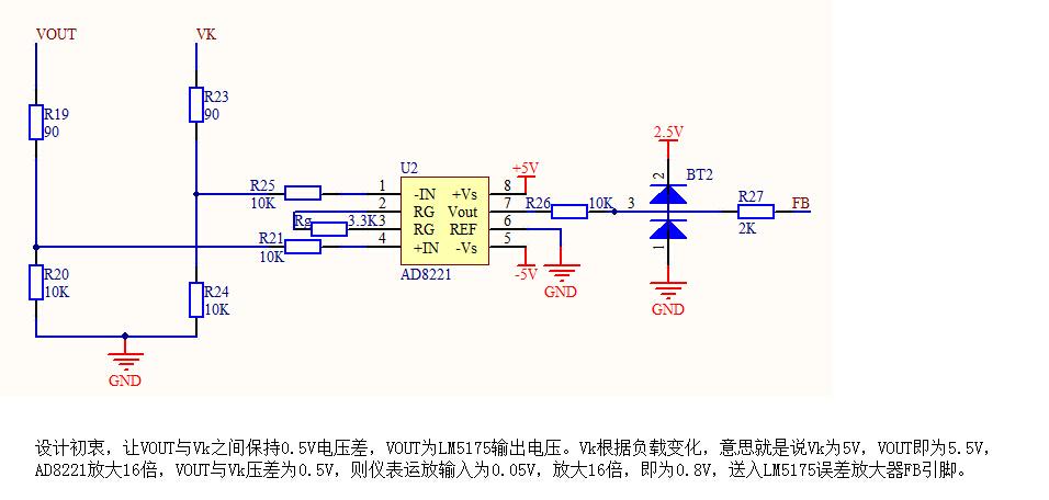 之后再直接使用电阻分压网络反馈给fb引脚,用示波器测量fb引脚,发现电