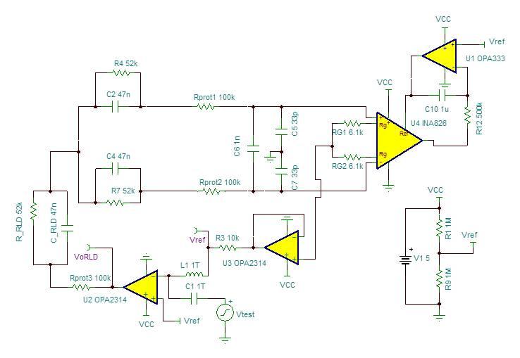 图 6 图5输出的曲线图 一旦确定 RLD 放大器的增益,便可使用图 5 所示测试电路,并在环路中注入一个小信号阶跃,然后监视输出响应情况。这时,响应(图 6 所示)显示出强输出振荡,表明环路中出现不稳定性。引起这种不稳定的主要反馈通路是 RLD 放大器周围的身体/电极/测量放大器反馈通路。图 7 所示测试电路,允许在一个波特图上单独分析 RLD 放大器的反馈和开环增益 (AOL) 曲线图。  图 7 电极/测量放大器反馈测试电路 图9所示 1/(反馈)曲线图代表了图 7 模拟结果。请注意,在没有外部补偿