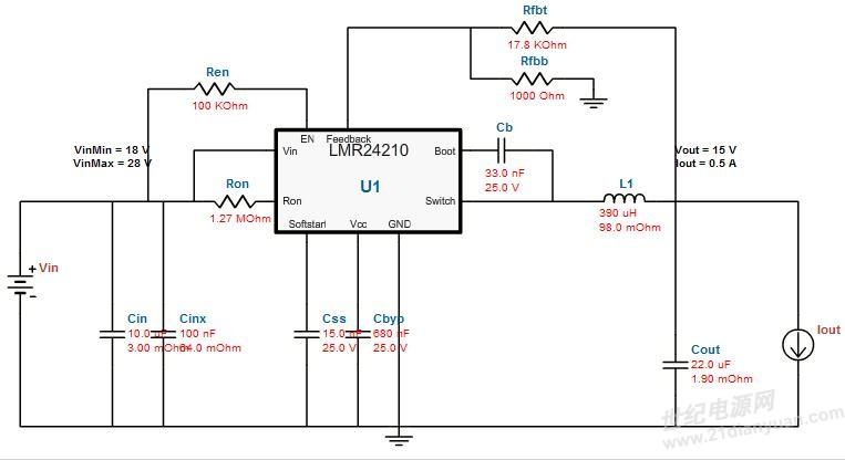 15v电压输出原理图