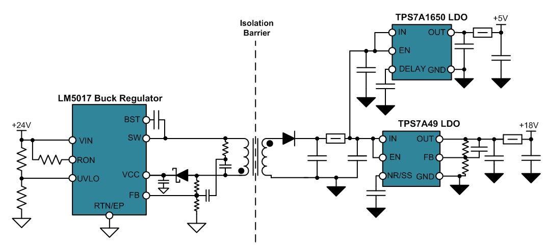 了一个输出隔离式4线制传感器发射器的示例电路设计