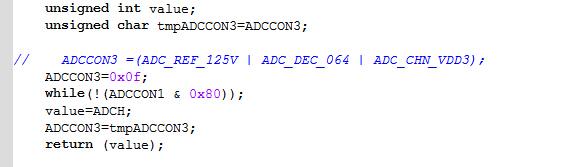 终端节点需要将采集到的温度和电池电压打包发送给协调器,使用ADC采集电池电压的程序如下:  然后在 SampleApp.c 中代码:  这样能返回电压值,是3.1V,和我用万用表直接测得的电池电压值3.34不同,请问这是什么原因,是代码有问题t么?