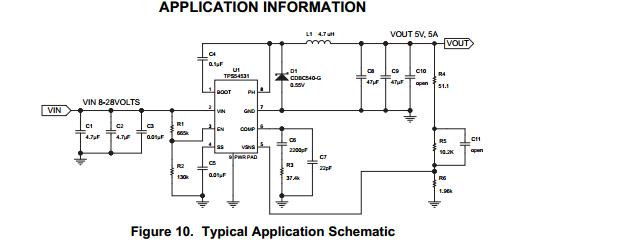 如下图所示:            下面我们来看看tps54531的具体应用电路,如下
