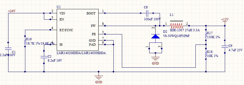 Hi Yuding 有几个问题虽然不一定和烧坏芯片有关系,但是可以核对下: 1. RT选择18.7K,也就是说你的开关频率到了1MHZ以上,这个开关频率是有点偏高的,正常设计建议放到500k-800k; 2. C2建议放到20nF,就是软启动5mS左右。 3. 输入电容位置是否足够靠近芯片VIN到GND,另外建议加大输入陶瓷电容,起码多并一个10UF