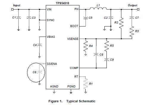 软启动问题,这个需要来看看tps54310的典型设计电路