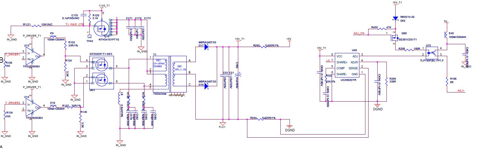 uc2902的官方推荐接法是对DCDC模块进行均流;但我现在的输入电压范围比较宽,12~48V输入,市场上该类DCDC模块较少;同样要求隔离的输入;所以采用先降压,然后再用变压器隔离的方式;降压芯片采用TPS54360,输出11V电压,然后作为推完形变压器的输入,变压器输出15V;我在变压器的输出端用uc2902进行负载均流,调整放大器的输出经过线性光耦反馈到TPS54360的FB端,不知道这种方案是否可行。