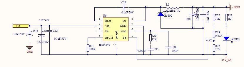 tps54340负15v电压输出,发热太大.