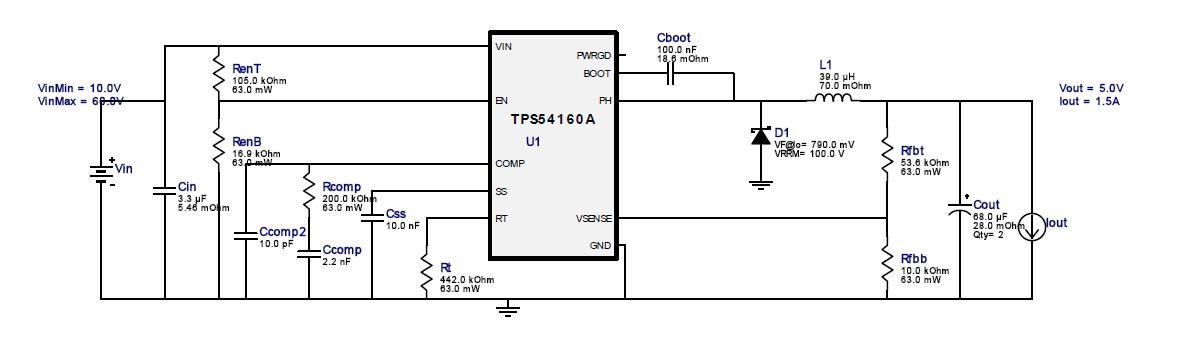 请教一个关于tps54160芯片电路的问题,输入电压和电感