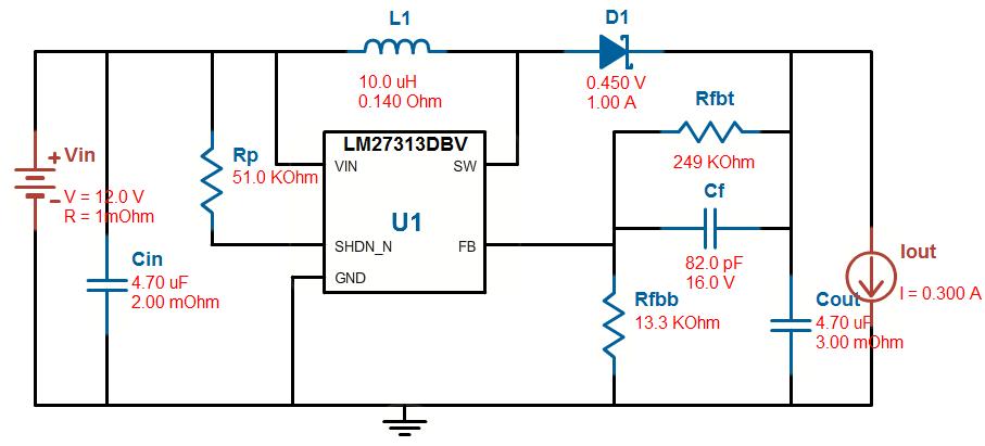 使用了lm27313芯片做了个升压电路