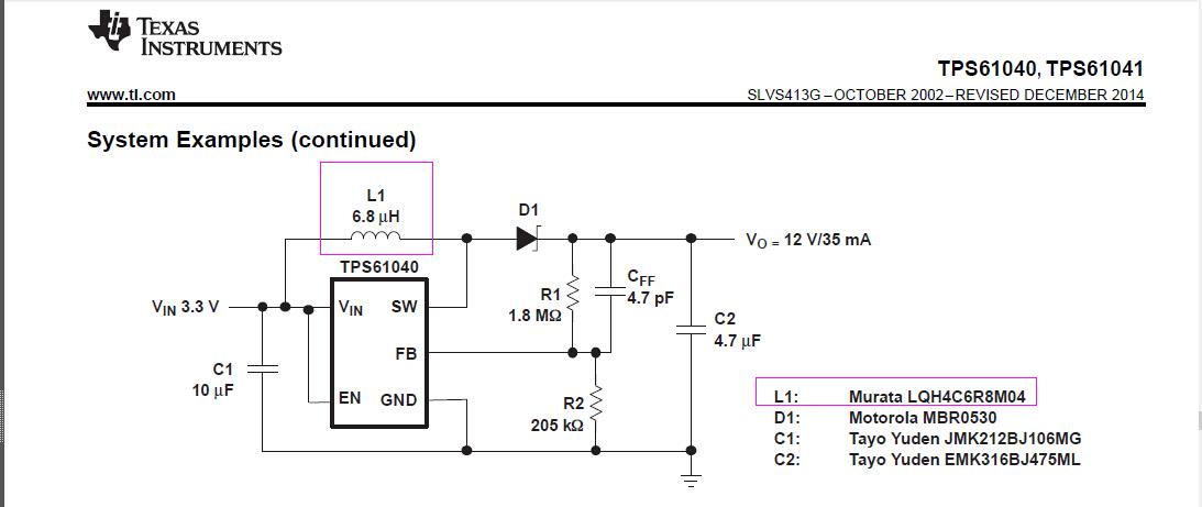 电源管理 tps61040的典型电路图中的电感型号  我需要使用到一个芯片