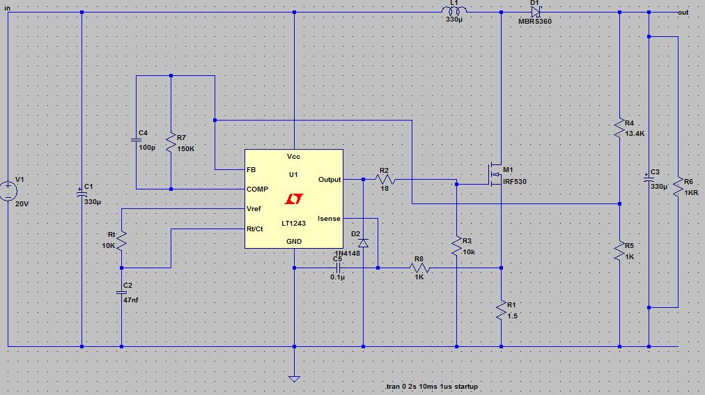 用lt1243(同uc3843)仿真一个boost升压电路