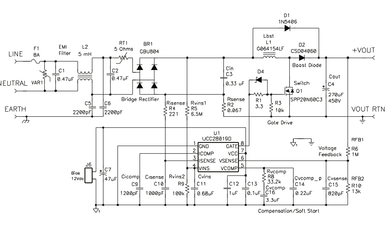 "<span>用这个芯片画了一块300W的PFC,用DC输入调试的时候没问题,波形非常好,换成AC输入,出现波形占空比自动调整,一直震荡,改过PCB,尤其是电流取样部分,问题依旧,请ti的工程师们给个建议,谢谢!!</span>输入端整流器滤波为两个CBB  0.47uF电容,在整流桥上并联47uF电解有所改善,但是波形依然不是很稳定,后来在输出电容上又并联了一个同规格的电容(150u/450v)波形<a href=""/cfs-file"