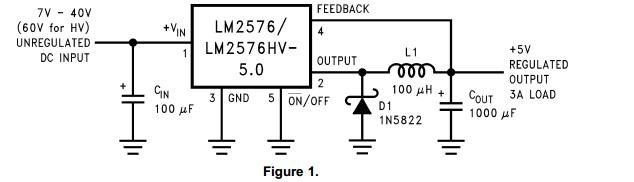 lm2576hv的外围电路设计是非常简单的
