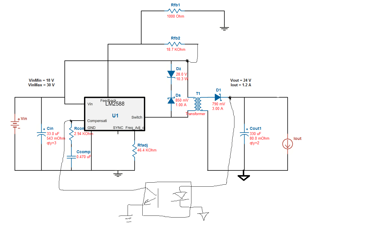 Hi 上述涉及比较简单一点,如果采用其他flyback,例如TPS40210之类的也可以,要复杂一点:  这个是18~28V输入,24V/0.8A输出的,调整变压器以及电流保护,可以做到1A以上输出的。