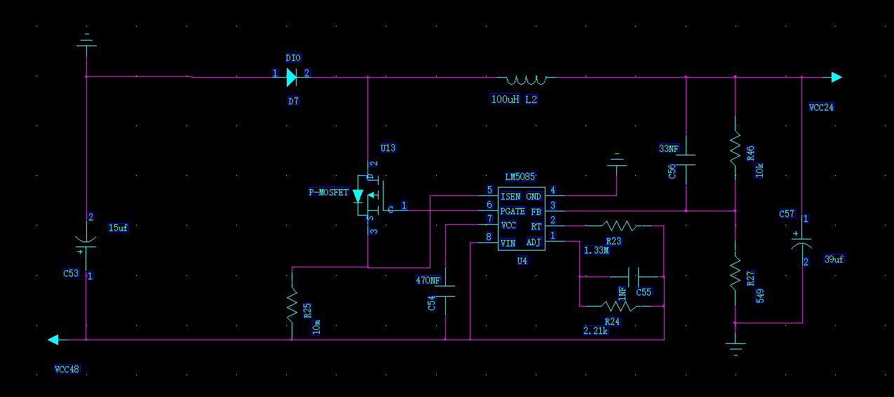 lm5085芯片buck电路与lm3485芯片buck电路级联问题
