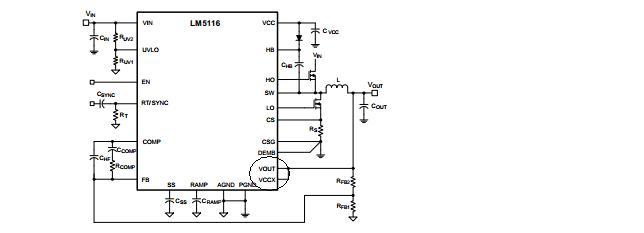 TI FAE:Trevor, Scott Sun,Stone Zeng 解答了楼主的问题,指出了设计中存在的一些问题,主要是参数的选择,以及电路连接方面的问题。并且指出了一些设计中需要注意的问题,在我们分析LM5116这个设计的输出电压偏低的问题之前,有必要了解一下LM5116这一款芯片,看看其的工作原理,以及设计中典型应用,如下图所示,是LM5116的封装结构图:  其实LM5116就是一款同步的降压控制器,说的简单一些,就是一款带有同步整流的BUCK控制器,但是LM5116是支持宽电压输入的电流模式