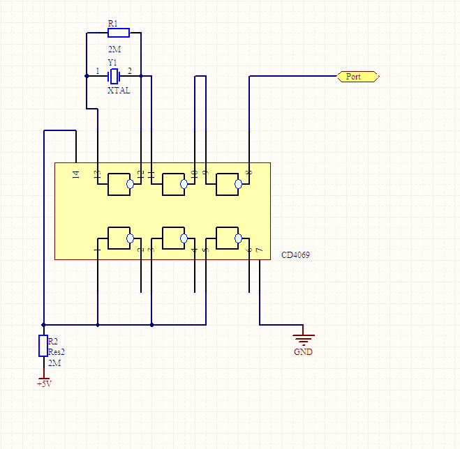 有关cd4069组成的振荡电路问题