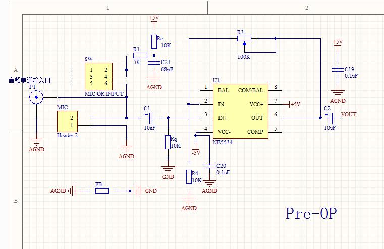 一个ne5534音频放大的简单问题