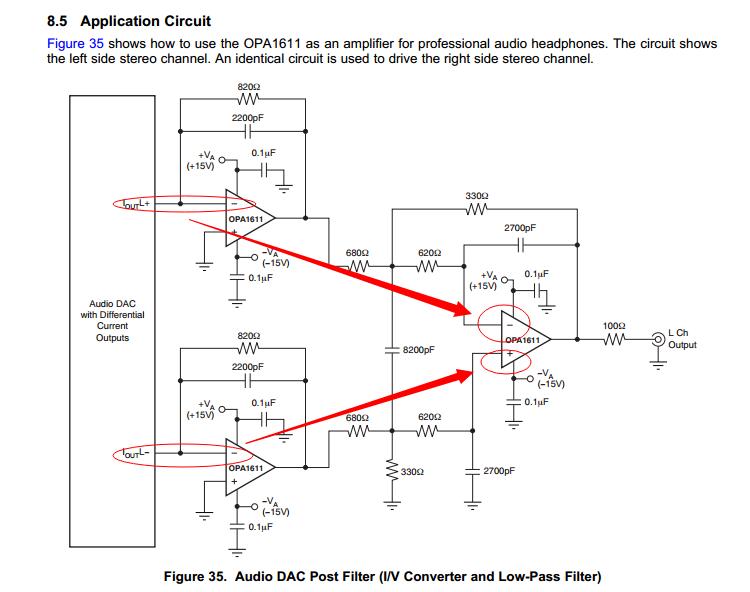 关于opa1611在dac中的l/v电路应用