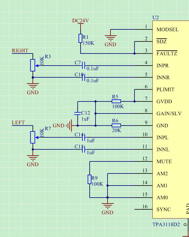 功放音量调节电路的设计(tpa3118)?
