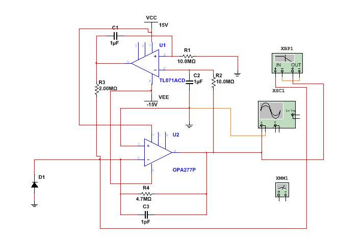 急!光电二极管+跨阻放大器出现问题