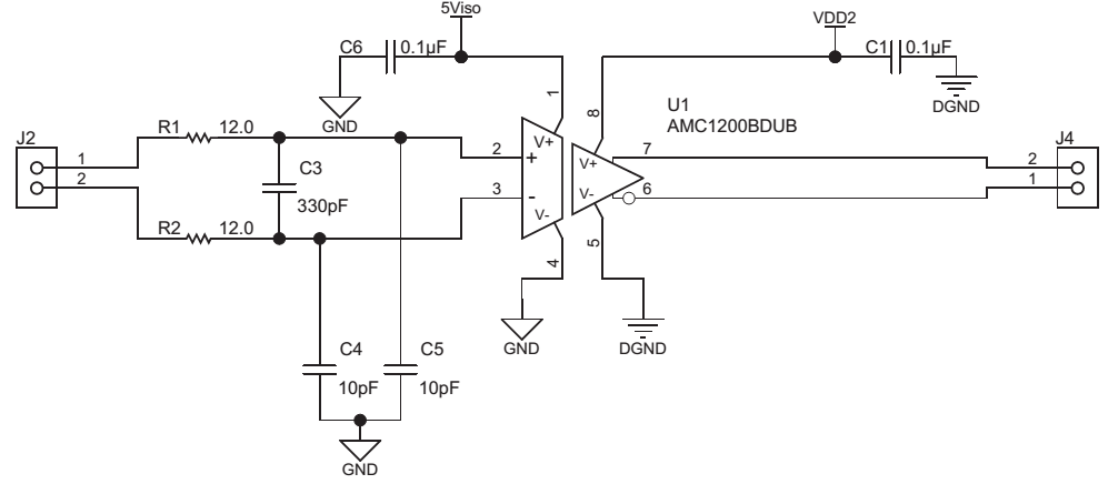 amc1200的datasheet上figure32指出上面的电路图中