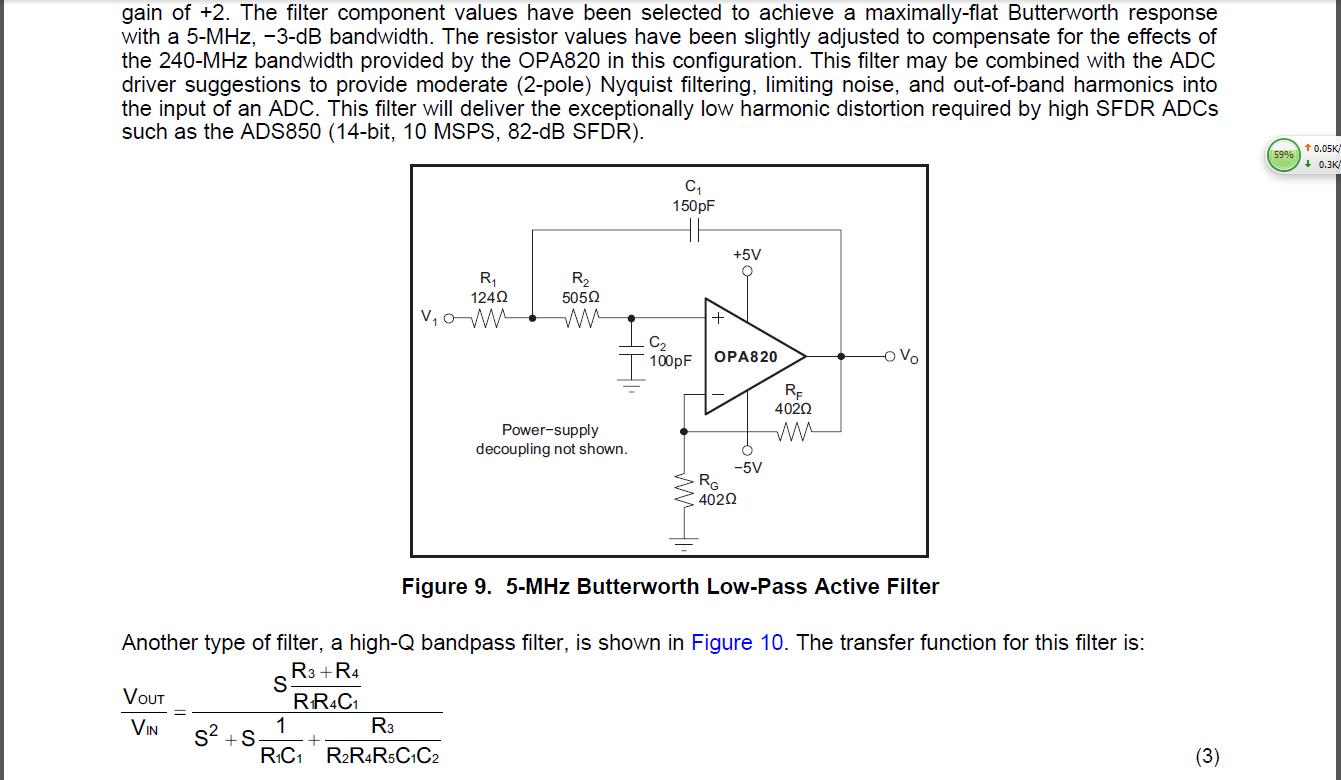 opa820做5m巴特沃斯滤波器的问题