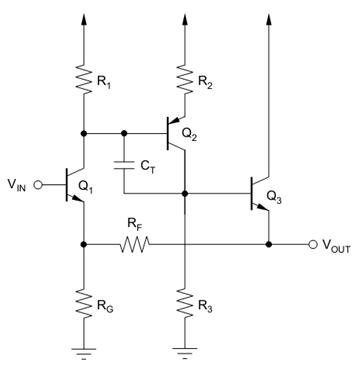 上一小节提到的电路(如下)是电流反馈型运放的鼻祖.