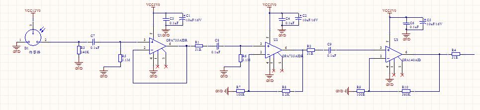 您好,我觉得您的增益设置不是很科学,首先看一下直流特性,您的末级电路放大倍数是5600,其失调电压最大120uV,温漂最大1uV/,也就是说即使不考虑其他因素的影响,输出就会有672mV左右的输出,而且这个输出会伴随5.6mV/的温漂;其次看早上,您的总增益高达40万倍,而且没有带宽限制,这样即使以第二级电路为前置放大器计算,其输出噪声也是高得吓人,而且直接导致运放不能稳定工作的。 不知道您为什么要放大这么大的放大倍数,这么高增益的放大器设计要非常谨慎的,首先前置放大器一定要选用极低噪声的放大器,例如O