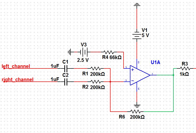 请教用单电源运放实现加法器混音左右声道
