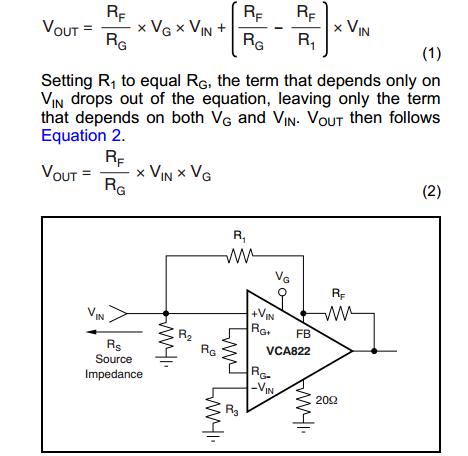 vca822的典型电路 - 放大器