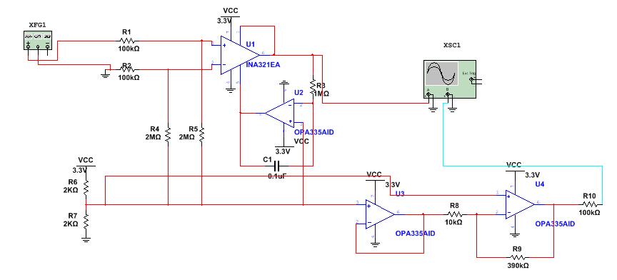 如下图所示,有几点不太明白:</p> <p>1.共模驱动(右腿驱动)的共模信号来自于两个2MΩ电阻分压取得共模信号,但是这个共模信号又连到了一个VR=2.5V上(电路图左下角),这样不会对共模取样有影响吗?电路途中所有显示+Vr的地方我都连接到这两个2KΩ电阻的分压处,也就是电路图左下角那边,可以吗?</p> <p>2.