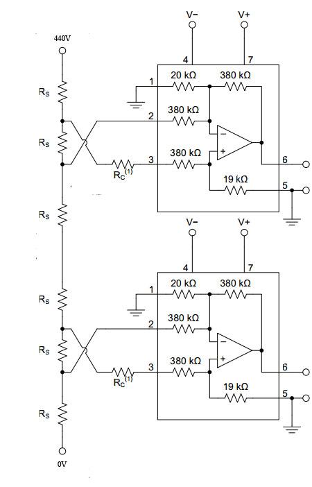 主电路电压是440v,采样电阻能够分到10v左右的电压