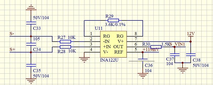 电路如图,前端s ,s-为压力传感器,惠斯通电桥结构,1.