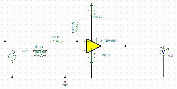在使用光电池做传感器的时候需要将光电池电压进行3倍的放大,本来用LM324放大没有任何问题,但是感觉噪声有点大,后来想采用OPA690,但是画好板子之后发现OPA690根本不能用,输出电压一直在变化,也不知道是不是放大器振荡了,以前总是感觉像OPA690系列的放大器应该会比LM324有好的效果,这次尝试过之后发现似乎不是这样,后来换成OPA695也试过还是不行,负端电压还是跟随正端变化的,但是经过电阻连到输出端之后就完全不正确了,小弟不怎么了解,还望有人来指点指点。下面是我的原理图:  PCB版图在下面: