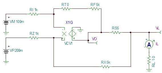 howland电路设计原理。方案设计如下图:  电路选用最大可以输出200mA的大电流运放OPA551。使用单运放来实现高精度的正负电流输出。OPA551的 最大失调电压为5mV。而本设计要求的最大输入信号为7.071V。因此失调电压的影响会小于0.1%。电流流过的四个高精度电阻R5-R8形成的电压信 号作为反馈信号反馈给正输入端电阻R4。使用四个电阻的原因是,四个电阻可以分担输出的电流,保证电阻的产生的热量远低于额定功率; 再则这样可以匹配出更精确的阻值。在实现生产中,也可以减小电阻的随机误差。为了保证