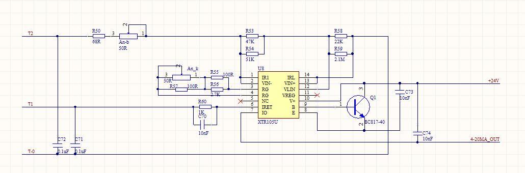 技术论坛 模拟与混合信号 放大器 xtr105u输出毛刺