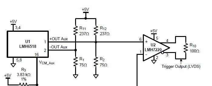 Hi , 看到您的回复,我获益匪浅,最近在用LMH6518做示波器,用到了LMH6518的out aux功能去实现触发功能。链接方法与LMH6518推荐的电路图一样,不通的是我选用了LMH7322比较器,链接如图所示,这样配置后,LMH7322不能正常地输出方波。 +out aux输出幅度我测了一下,峰-峰值在150mV左右,我加的参考在这个范围内变动,但是LMH7322一直没有比较方波输出???? 请问,应该如何,才能正常使用LMH6518、LMH7322。。。。 Best Regards!