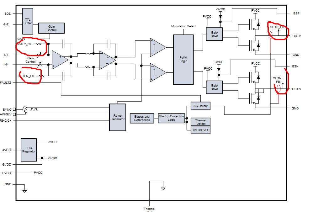 pwm功率放大器drv595 反馈问题