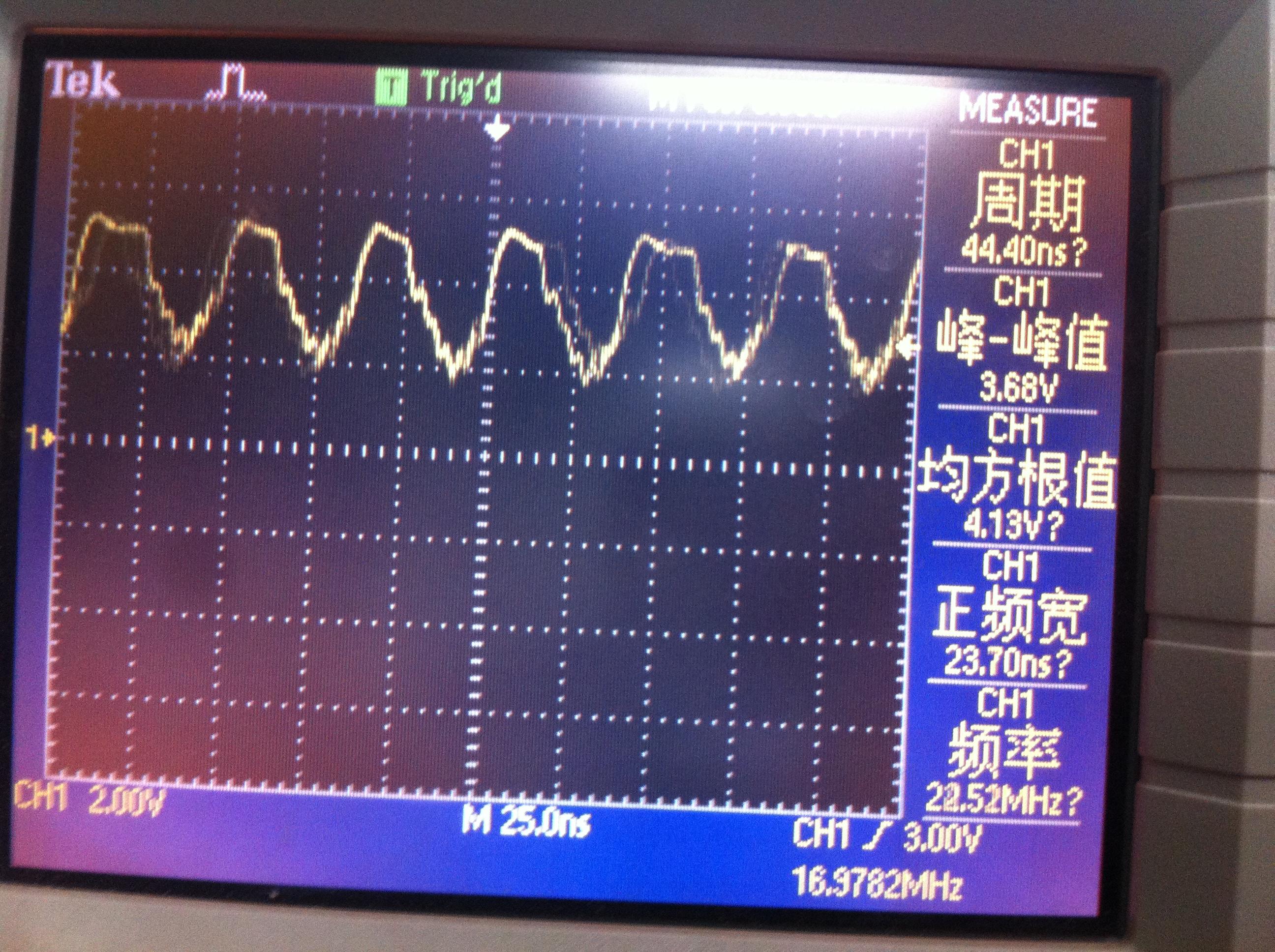 """请问<a href=""""http://www.ti.com.cn/product/cn/TLV3501"""" target=""""extwin"""">TLV3501</a>比较器能否比较100MHz,峰峰值50mv小信号?制作了一个迟滞比较器(电路按照数据手册上的),阈值电压为10mv左右。当输入电压为50mv,25Mhz小信号得不到较好的方波</p><div style=""""clear:both;""""></div>"""" /"""