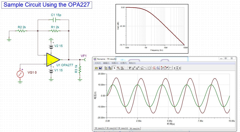 模拟与混合信号 放大器 opa227增益带宽积问题   按理说电路是