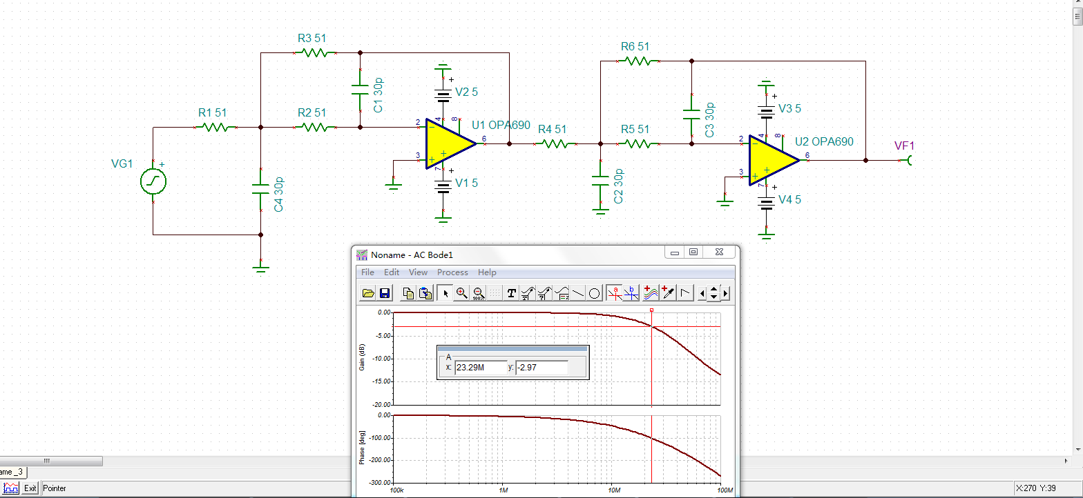 opa690构成的滤波器电路问题