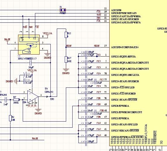 """我用<a href=""""http://www.ti.com.cn/product/cn/TMS320F28069"""" target=""""extwin"""">TMS320F28069</a> 的AD采集交流信号 芯片是3.3伏供电的 采用内部基准3.3伏 信号在输入AD引脚之前有一级运放,运放放大信号后输入AD引脚,问题是:输入的波形最大峰值只"""