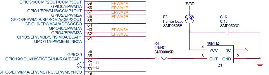 关于f28035有源晶振的接法