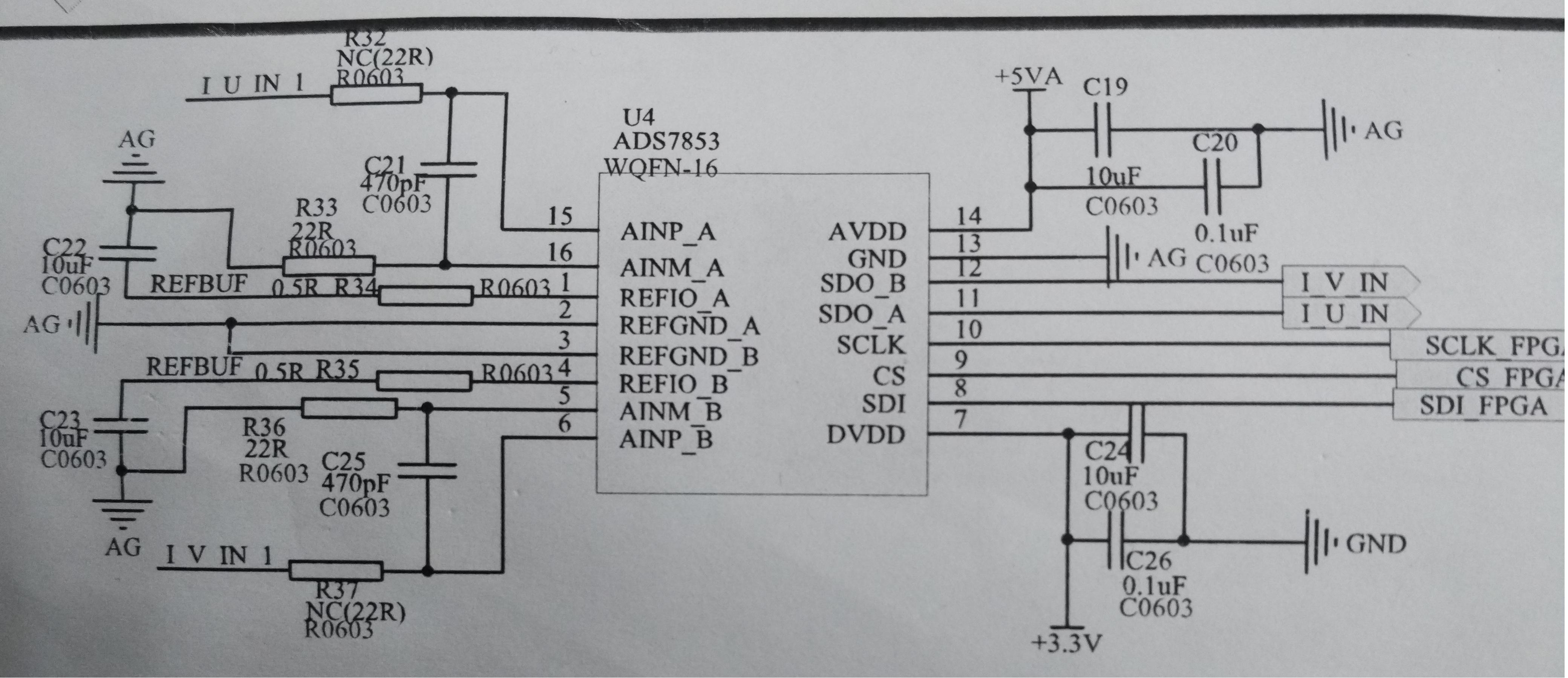 新做的ADS7853电路,如图: REFBUF:为2.5V电压 R32和R37为前端放大器输出的模拟量,基准电平为2.5V  目前没有进行程序配置,上电很烫温度可能到70°左右。 断掉R37,R32,R34,R35;症状没有得到缓解。 请帮忙分析一下?