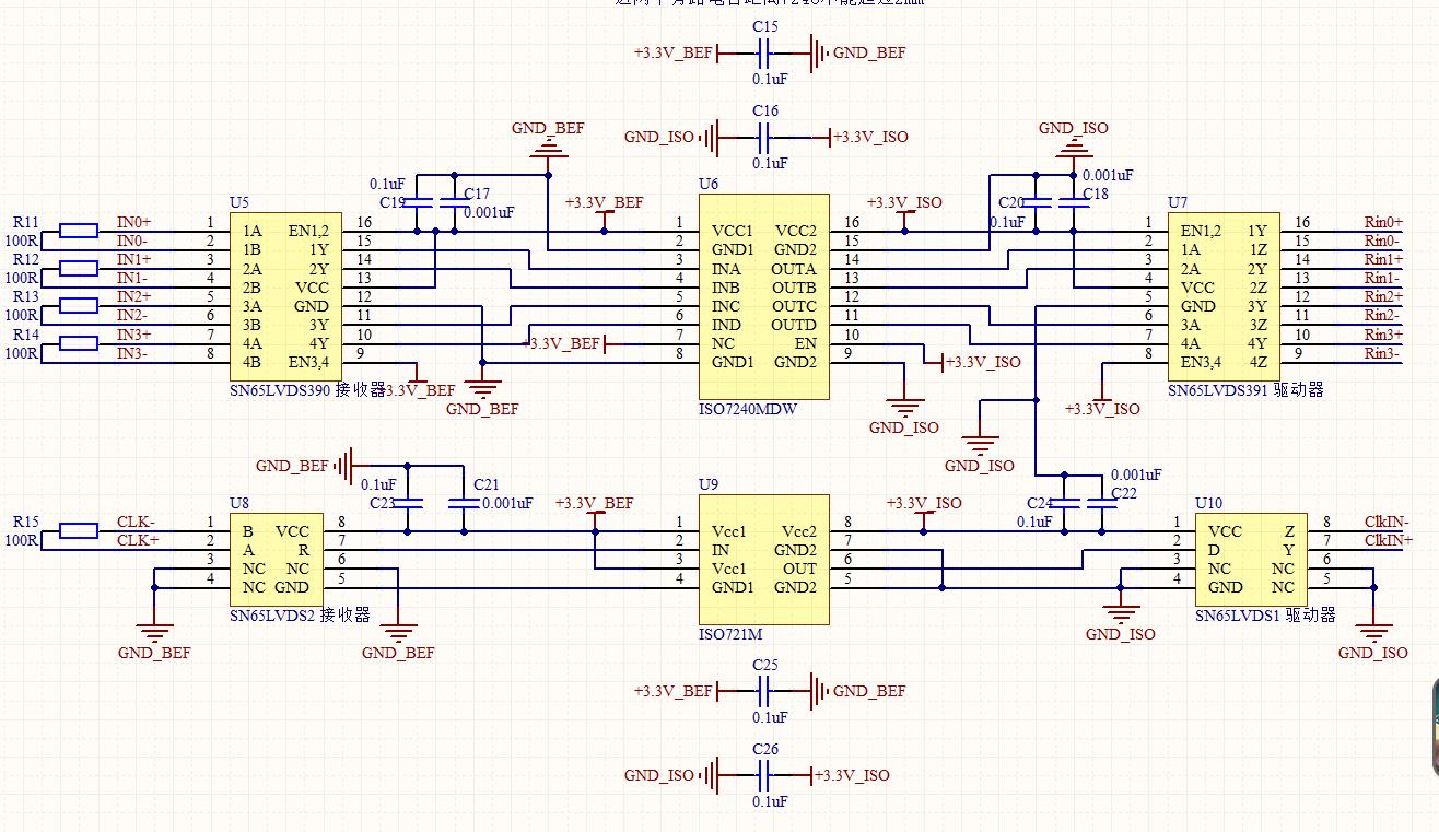 为实现工控计算机LVDS信号的隔离,LVDS接收器选用SN65LVDS390(4对信号)和SN65LVDS2(1对信号),中间TTL隔离选用ISO7240MDW和ISO721M,LVDS驱动器选用SN65LVDS391和SN65LVDS2,为实现电源隔离,ISO7240MDW和ISO721M两侧为不同的3.3V供电,但是,实际做成PCB板焊接元件完成后测试发现LVDS信号无法实现预期的隔离传输。分析原因可能是PCB布线和板间布局忽略LVDS高速信号要求的问题,现在附上原理图和PCB板图,希望大神给予答疑解