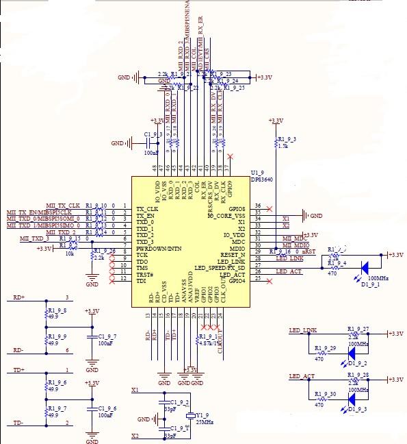 关于dp83640电路连接问题 - 接口/时钟 - 德州仪器