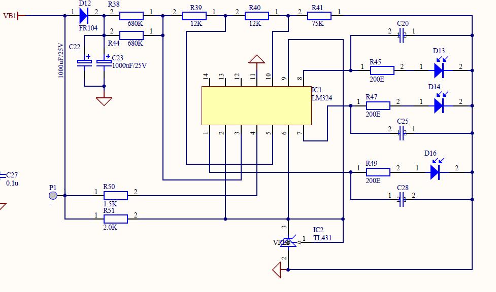 用lm324来做了个电池电量显示电路
