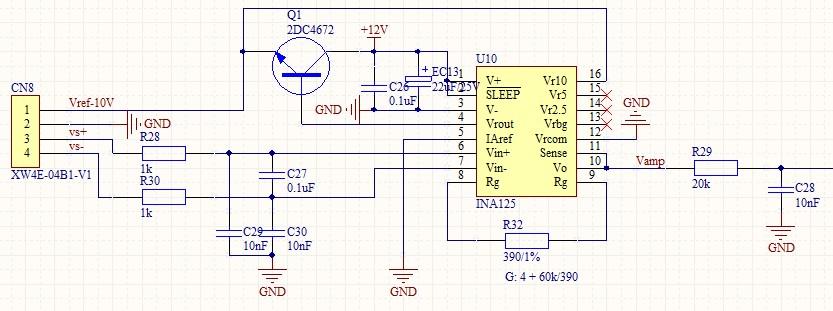 没有文字,我这里补充一下 ============================= 我所遇到的问题是:在没有施加,或者施加较小压力的情形下,放大器输出大约80mV,直到施加压力大约2kg左右开始输出电压大于80mV,这样导致我不能够测量小于2kg以下的压力,我所使用的压力传感器最大量程30kg。我的应用要求能够测量到0.