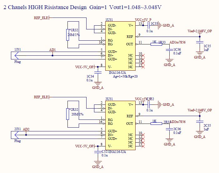我正在使用两个ina116芯片做一个两路的高阻抗陶瓷传感器测量电路