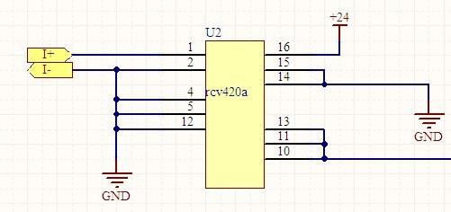 你好,这是单电源rcv420的资料,里面有单电源24v下rcv420的电路及其
